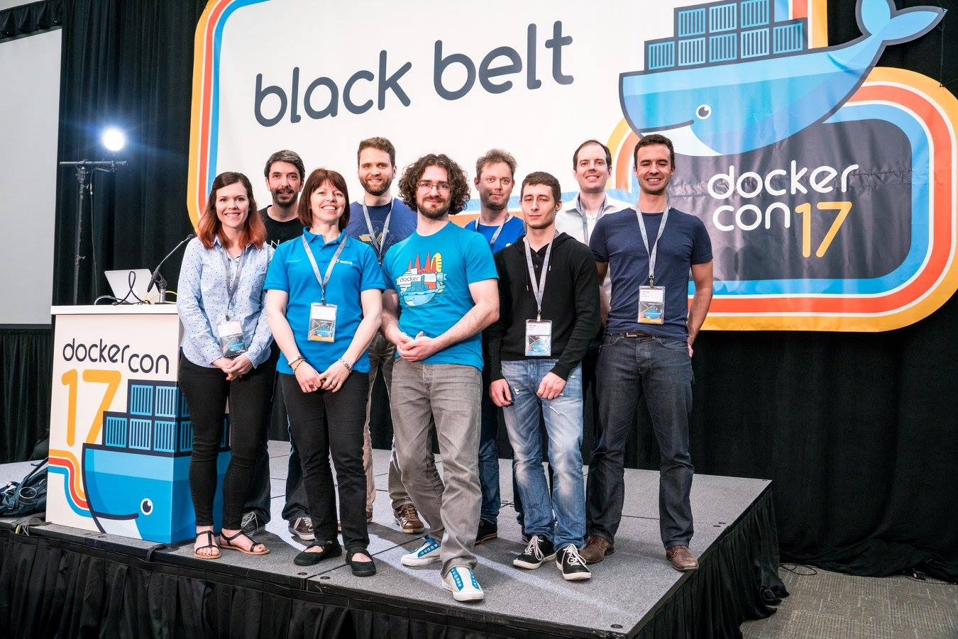 Group picture with the Black Belt Track speaker at DockerCon 2017 in Austin.