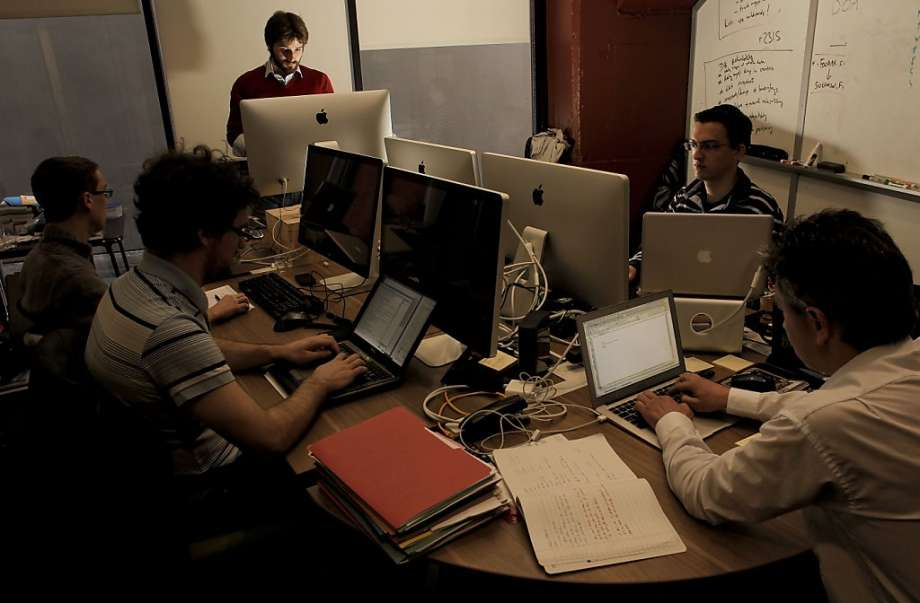 The dotCloud office at Founder's Den, early 2011. (Credit: SFGate)
