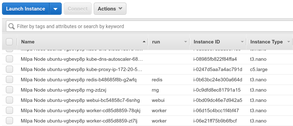 AWS console showing instances created by Milpa and Kiyot